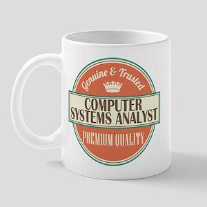 computer systems analyst vintage logo Mug