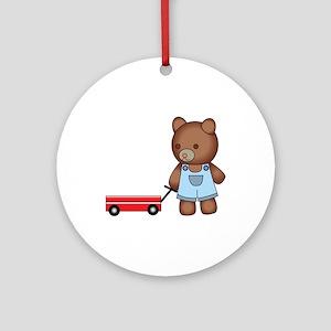 Boy Teddy Bear Round Ornament