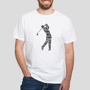 Golf Golfer Typography White T-Shirt