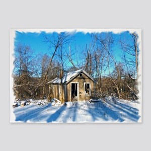 Old House in the Snow 5'x7'Area Rug