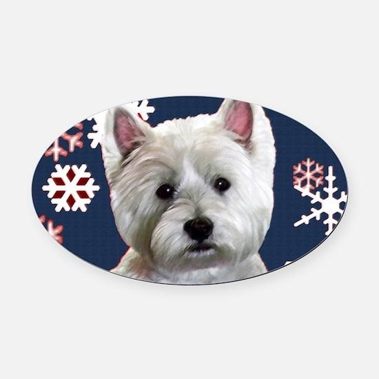Cute Westie winter Oval Car Magnet