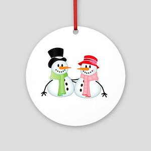 Happy Snow Couple Round Ornament