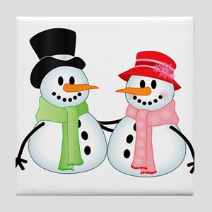 Happy Snow Couple Tile Coaster