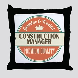 construction manager vintage logo Throw Pillow