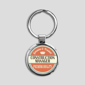 construction manager vintage logo Round Keychain