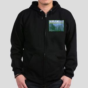 Glacier National Park Mountains Zip Hoodie (dark)