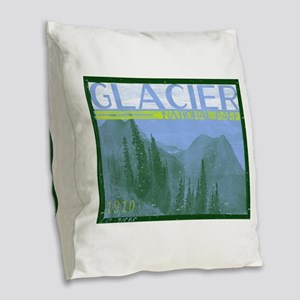 Glacier National Park Mountain Burlap Throw Pillow