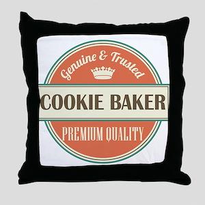 cookie baker vintage logo Throw Pillow