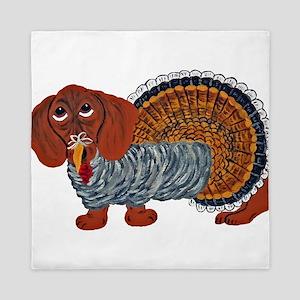 Dachshund Thanksgiving Turkey Queen Duvet