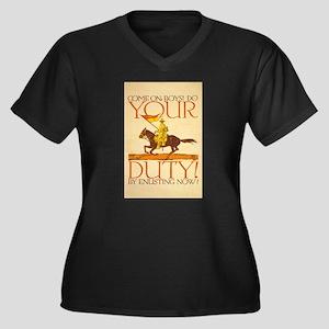 US Army Do Women's Plus Size V-Neck Dark T-Shirt