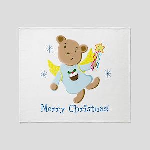 Teddy Bear Christmas Angel Throw Blanket