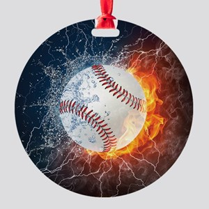 Baseball Ball Flames Splash Round Ornament