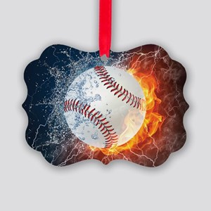 Baseball Ball Flames Splash Picture Ornament