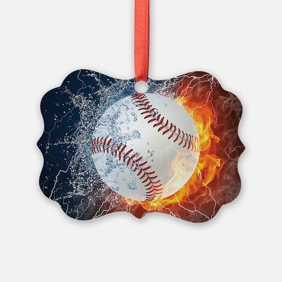Baseball Ball Flames Splash Ornament
