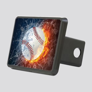 Baseball Ball Flames Splash Rectangular Hitch Cove