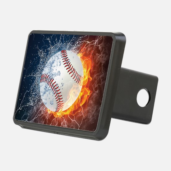 Baseball Ball Flames Splash Hitch Cover