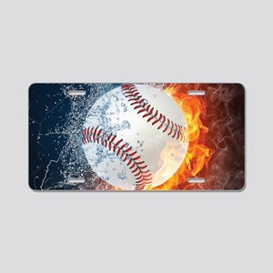 Baseball Ball Flames Splash Aluminum License Plate