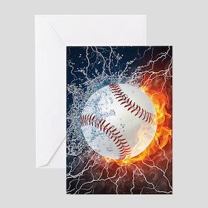 Baseball Ball Flames Splash Greeting Cards