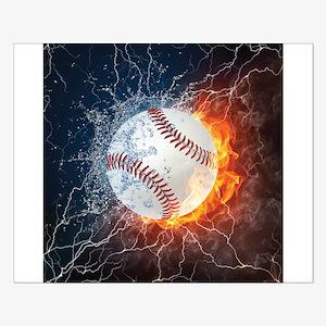 Baseball Ball Flames Splash Poster Design