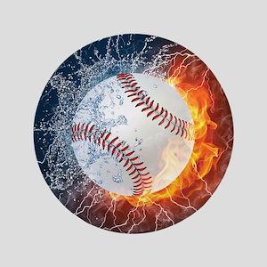 "Baseball Ball Flames Splash 3.5"" Button"