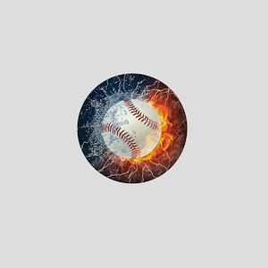Baseball Ball Flames Splash Mini Button