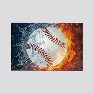 Baseball Ball Flames Splash Magnets