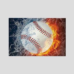 Baseball Ball Flames Splash Magnets