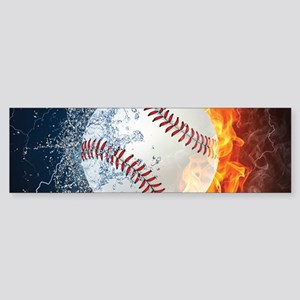 Baseball Ball Flames Splash Bumper Sticker