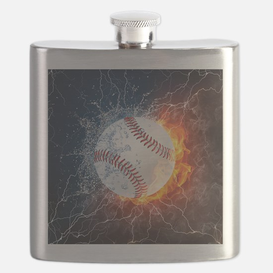 Baseball Ball Flames Splash Flask