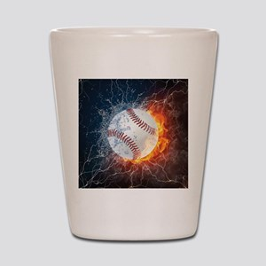 Baseball Ball Flames Splash Shot Glass