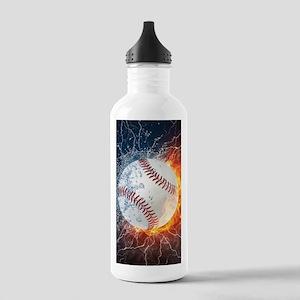 Baseball Ball Flames Splash Sports Water Bottle