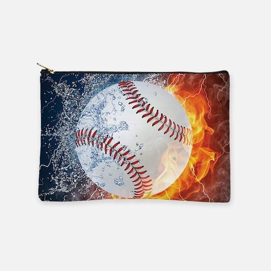 Baseball Ball Flames Splash Makeup Bag