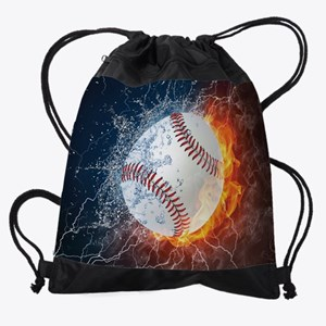 Baseball Ball Flames Splash Drawstring Bag