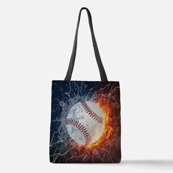 Baseball Ball Flames Splash Polyester Tote Bag