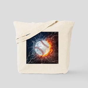 Baseball Ball Flames Splash Tote Bag