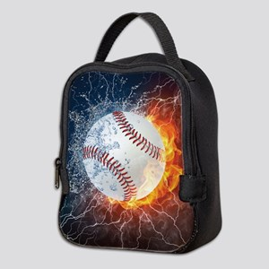 Baseball Ball Flames Splash Neoprene Lunch Bag