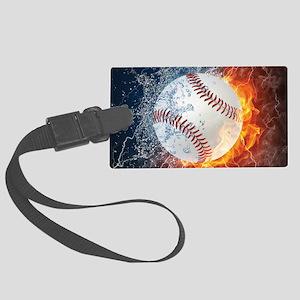 Baseball Ball Flames Splash Large Luggage Tag