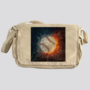 Baseball Ball Flames Splash Messenger Bag