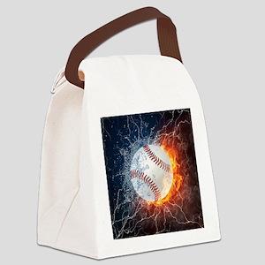 Baseball Ball Flames Splash Canvas Lunch Bag