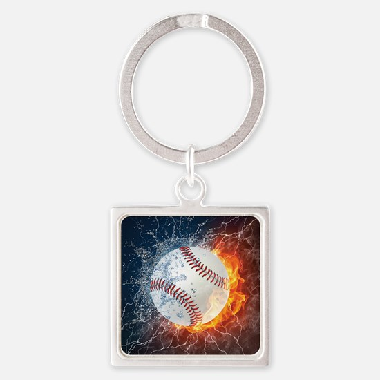 Baseball Ball Flames Splash Keychains