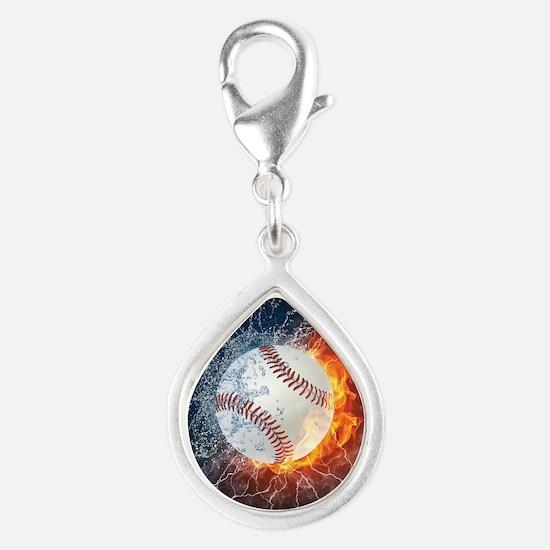 Baseball Ball Flames Splash Charms