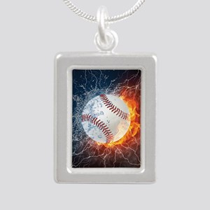 Baseball Ball Flames Splash Necklaces