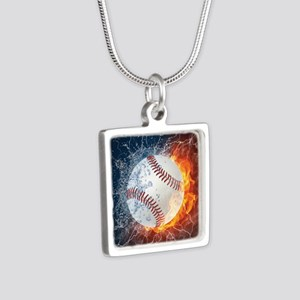 Baseball Ball Flames Splash Necklaces