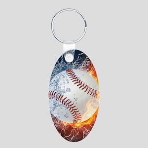 Baseball Ball Flames Splash Keychains