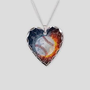 Baseball Ball Flames Splash Necklace Heart Charm