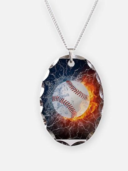 Baseball Ball Flames Splash Necklace