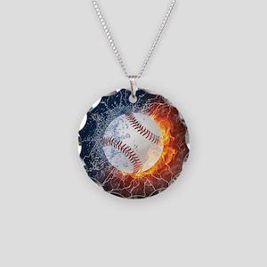 Baseball Ball Flames Splash Necklace Circle Charm