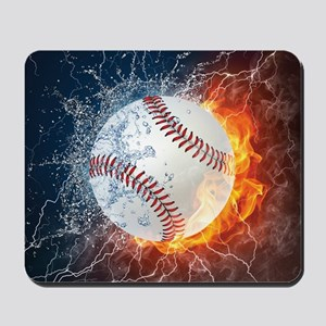 Baseball Ball Flames Splash Mousepad