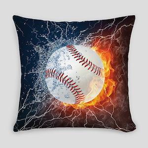 Baseball Ball Flames Splash Everyday Pillow