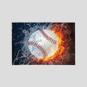 Baseball Ball Flames Splash 4' x 6' Rug